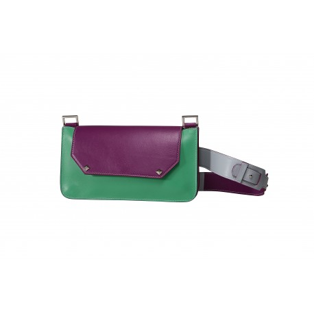 Flora: mini bag donna in pelle iris, perla e menta