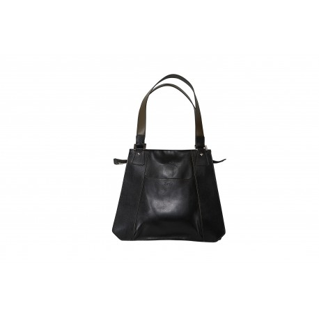 Amalia: borsa donna in vitello nero e kiwi